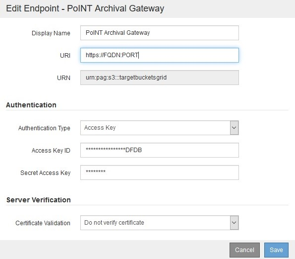 NetApp StorageGRID Replikation auf Tape (PoINT Archival Gateway)